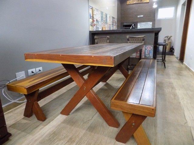 Conjunto de mesa com bancos 2mt em promoção - Foto 6