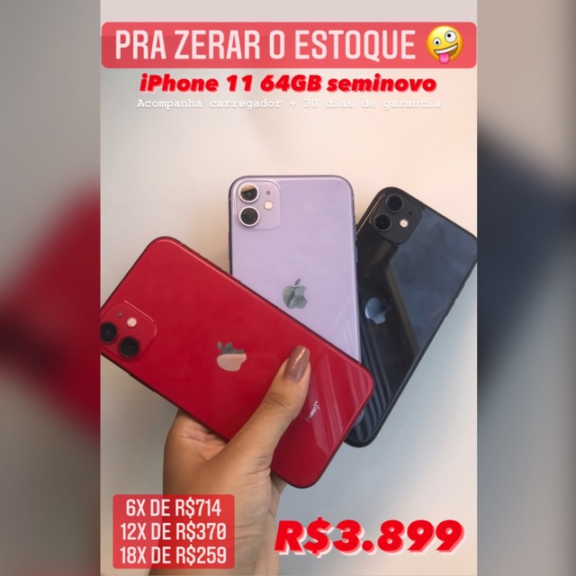 IPHONE 11 64GB LILÁS/RED/PRETO VITRINE C GARANTIA