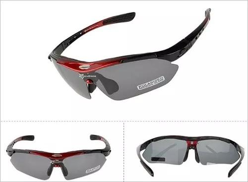 1f63b834ef484 Kit Óculos Sol RockBros Polarizado Esportivo 5 Lentes Bike Ciclismo - Azul  (ou vermelho)