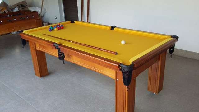 Mesa de Bilhar Diver Maciça Tecido Amarelo Modelo LLO1122 - Foto 4