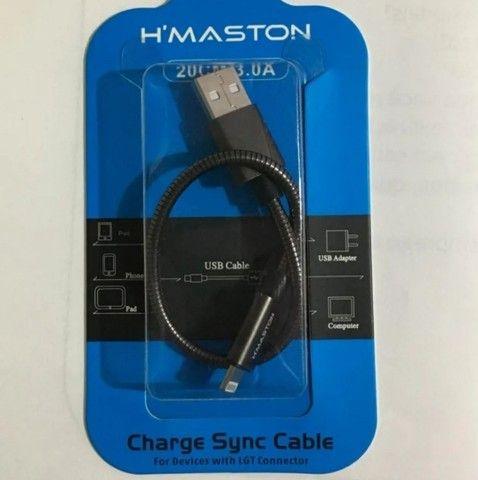 LIQUIDAÇÃO Kit Com 2 Mini Cabo USB H'Maston Com 20cm Para Celular iPhone