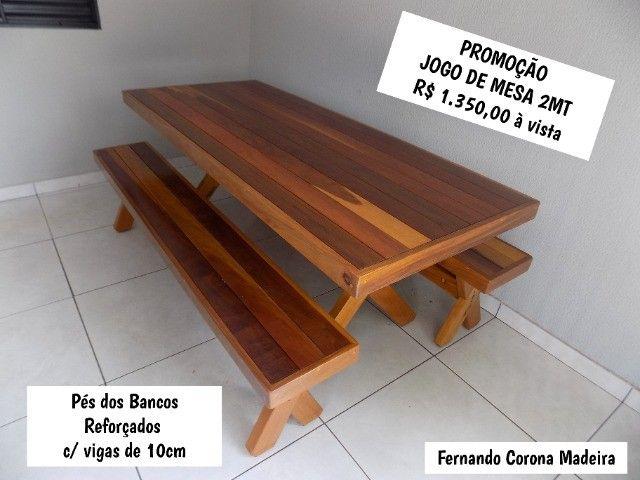 Conjunto de mesa com bancos 2mt em promoção