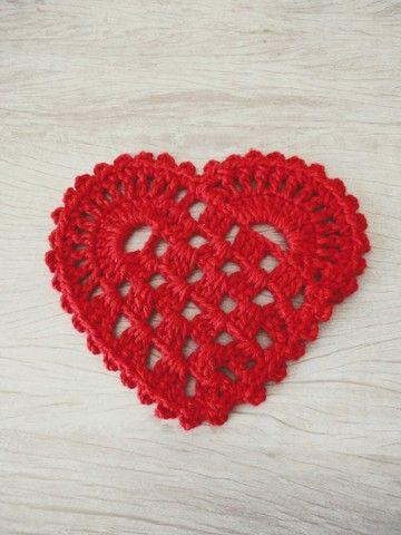 Mesa posta dia das mães/ Sousplat e descanso de copo coração em crochê - Foto 5