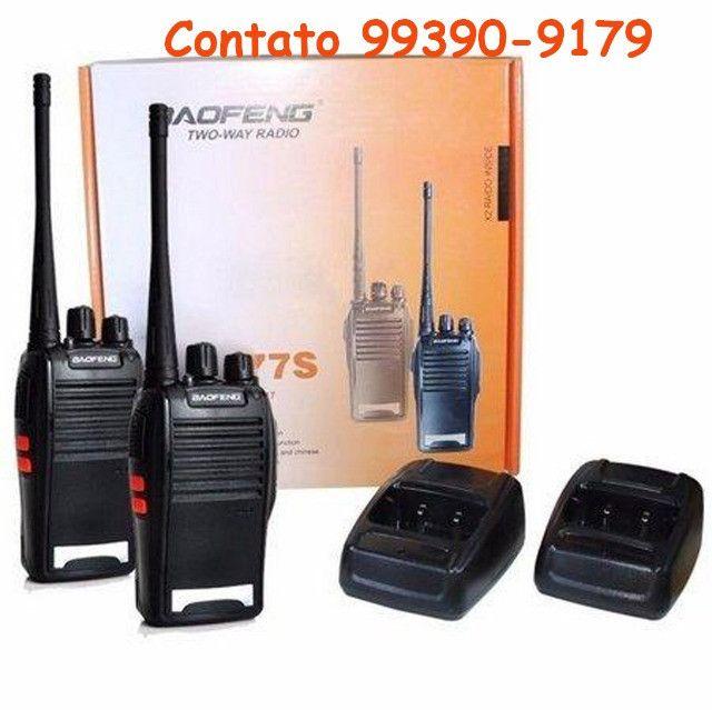 Kit 2 Radios Comunicação Ht Uhf Vhf 16 Canais Completos 777s - Foto 3