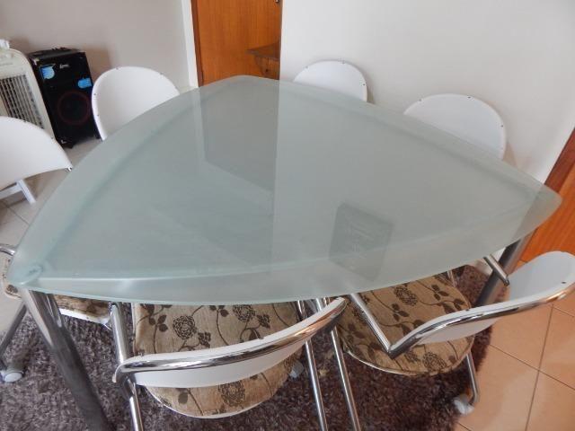 Mesa de Jantar Triangular Vidro 6 Cadeiras - Foto 6