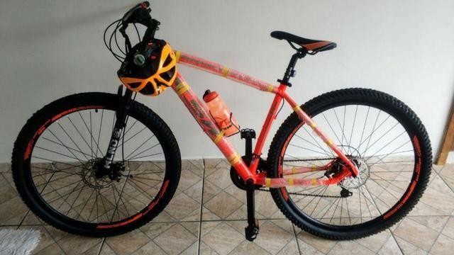 Novo! Bicicleta Aro 29 - 21v - Câmbios Shimano - Freio a Disco Mecânico com Suspensão - Foto 5