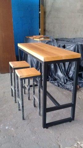 Mesa madeira 5 cm espessura e estrutura metálica. Nova, aceitamos cartão de crédito. - Foto 5
