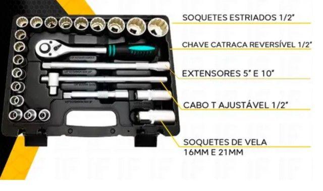 Jogo soquete e catraca 1/2 pl. de 8 a 32mm aço cr-v com 24 pç / Stels - Foto 2