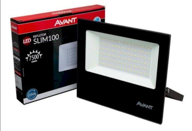 Refletor Led Holofote 100w Branco Frio 6500k Ip65 Slim Avant - Foto 2