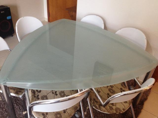Mesa de Jantar Triangular Vidro 6 Cadeiras - Foto 3