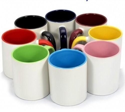 Caneca de porcelana com interior colorido lisa ou personalizada( ler anuncio completo)