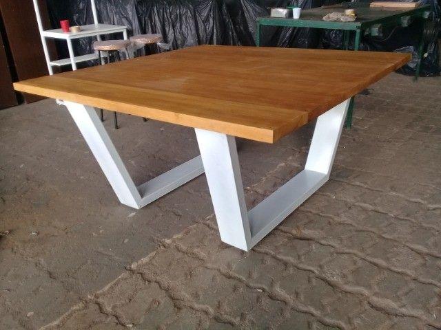 Mesa madeira 5 cm espessura e estrutura metálica. Nova, aceitamos cartão de crédito. - Foto 2