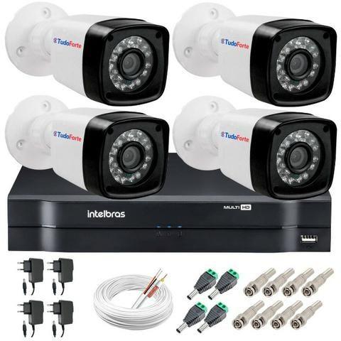 Kit 4 Câmeras + DVR Intelbras + Câmeras Infravermelho de Visão Noturna