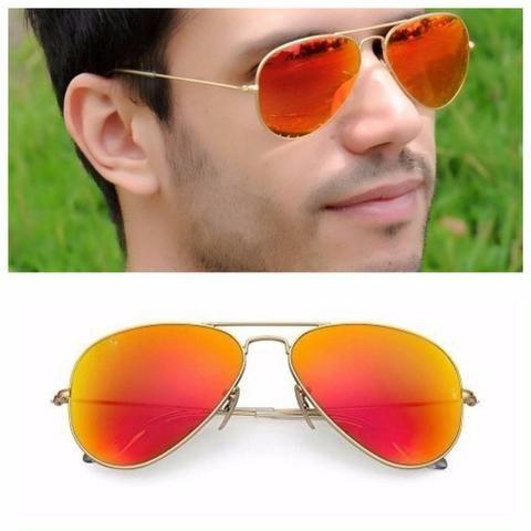 eae9851abb7de Óculos Sol Ray Ban Aviador Vermelho Espelhado Novo - Bijouterias ...