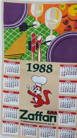 Pano de prato Zaffari 1988 calendário estado de Novo