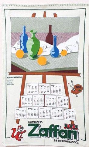 Pano de prato Zaffari calendário  1990 Novo