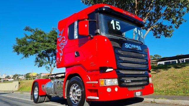Scania R 440 4x2 Toco Automático Completo 2015 Rodas de Alumínio Fino Trato