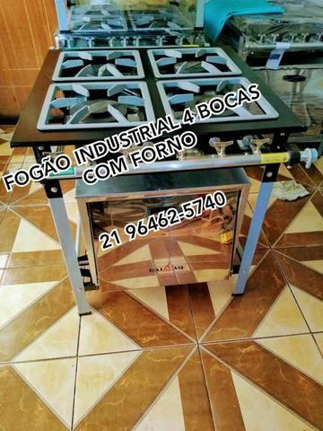 FOGÃO industrial 4 BOCAS COM FORNO Pronta entrega só na Gemaq Fogões