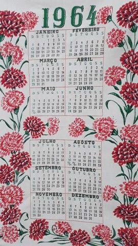 Pano de prato calendário original de 1964 estado de Novo  - Foto 2