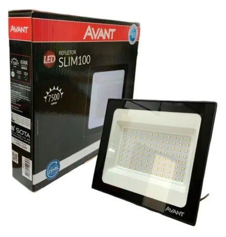 Refletor Led Holofote 100w Branco Frio 6500k Ip65 Slim Avant - Foto 4