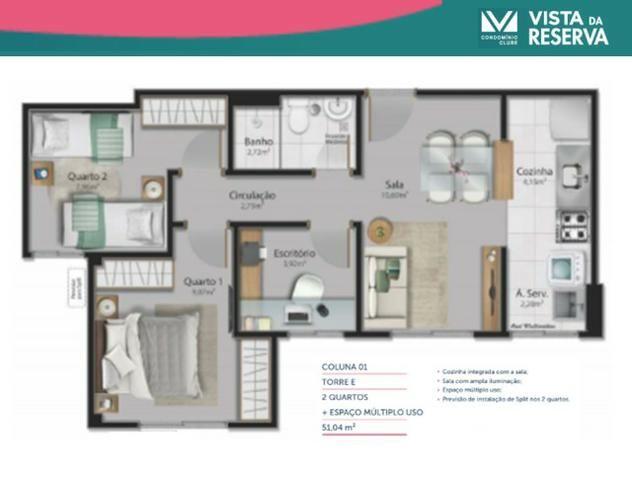 ALX - 46 - Apartamento com 3 Quartos - Entrada Parcelada em 60 meses - Vista da Reserva - Foto 5