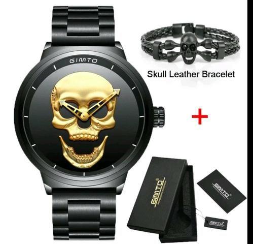13452102e97 Relógio Masculino Crânio Caveira Skull + Brinde - Bijouterias ...