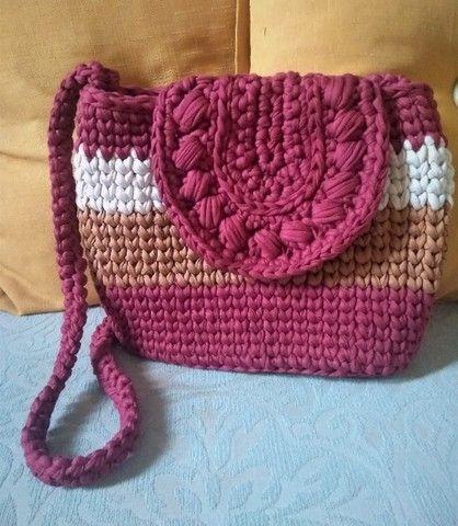 Bolsa em crochê de malha - Foto 2