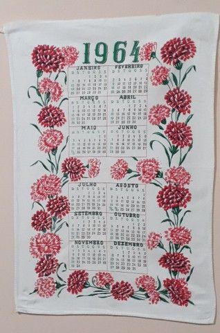 Pano de prato calendário original de 1964 estado de Novo