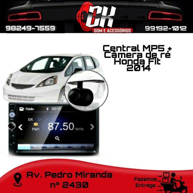 Central MP5 + Câmera de ré Honda Fit 2014