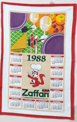 Pano de prato Zaffari 1988 calendário estado de Novo  - Foto 2