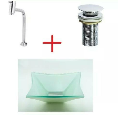 Vendo kit torneira / cuba de vidro/ dreno novos na caixa