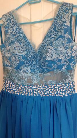 Vestido azul piscina madrinha