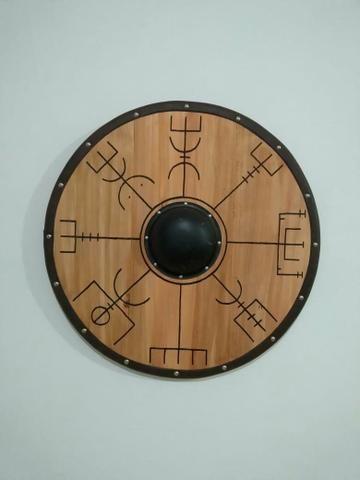 Escudo de madeira pinos 57 cm diâmetro - Foto 2