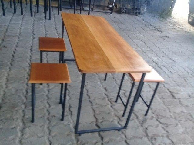 Mesa madeira 5 cm espessura e estrutura metálica. Nova, aceitamos cartão de crédito. - Foto 6