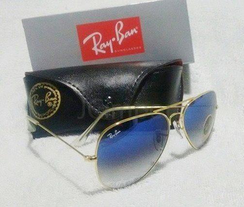 a29a5da67 Óculos de sol RB Aviador 3026 com lentes de proteção Uv Azul degrade ...