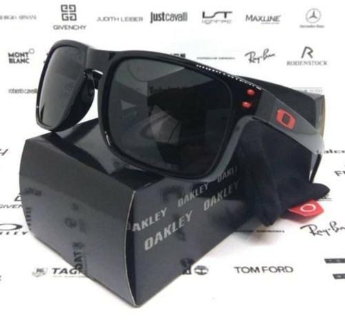 16addb8f2df5c Óculos Oakley Holbrook Preto Detalhes Vermelho 100% Polarizado Novo ...