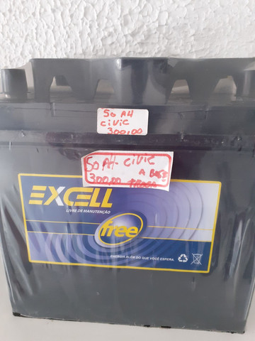 Bateria excell 50ah para Civic a base de troca com garantia de 18 meses  instalada