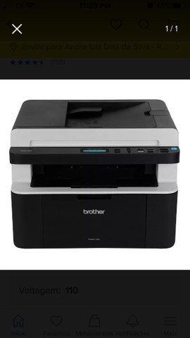 Impressora a laser DCP 1617 pouco usada, valor $ 1100