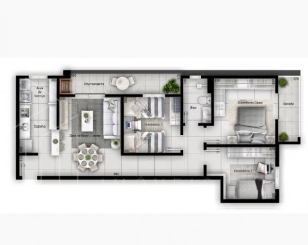 Apartamento para Venda em Ponta Grossa, Uvaranas, 3 dormitórios, 1 banheiro, 1 vaga - Foto 4