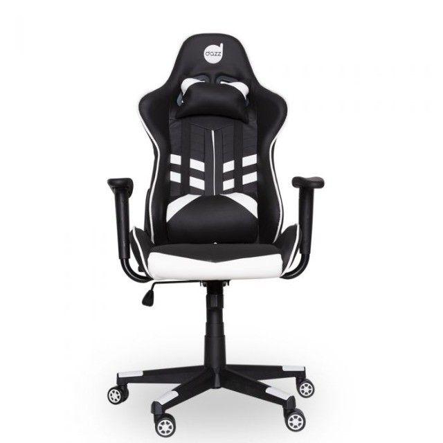 Cadeira Gamer PrimeX Preto/Branco Dazz - Loja Natan Abreu - Foto 2