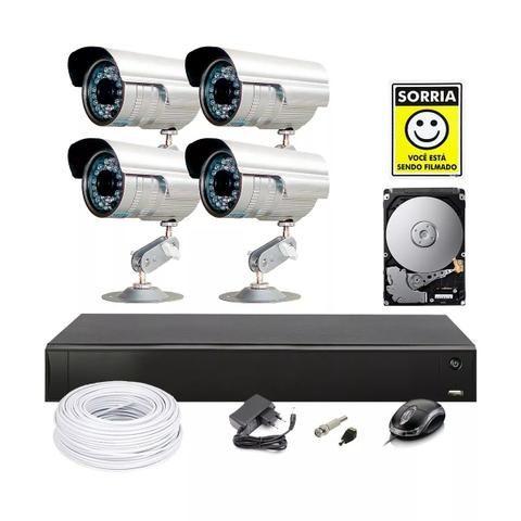 (Kit + Instalação) 4 Câmeras de Segurança + DRV com HD 500Gb
