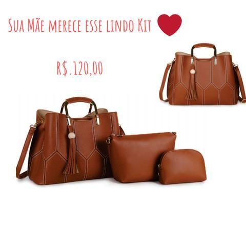 1fbbd7e51 Bolsa Feminina Kit com 2 Bolsas Grande e Pequena e uma Necessarie