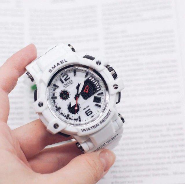Relógio Militar Smael S Shock Branco 1509 a prova da água C/ Caixa