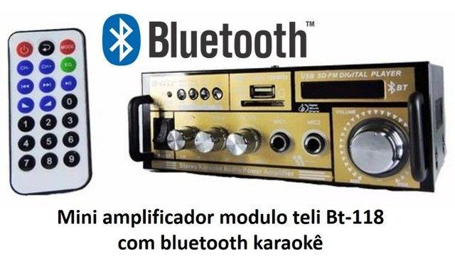 Mini amplificador modulo teli Bt-118 com bluetooth karaokê