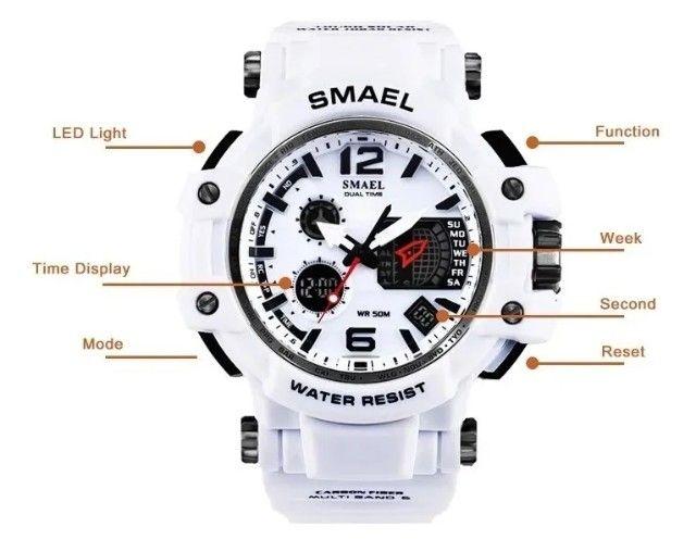Relógio Militar Smael S Shock Branco 1509 a prova da água C/ Caixa - Foto 4
