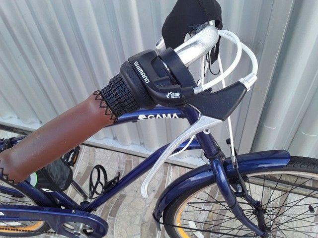 Nova retrô  azul  metalica macha shimano com nota fiscal - Foto 2