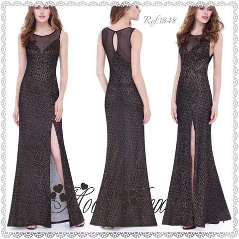 Vestido de Festa Muito Luxuoso Black com Fenda Lateral