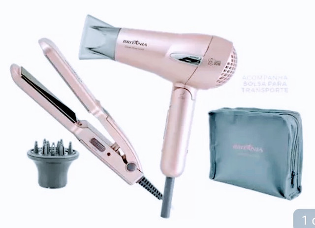 Kit Britânia Travel Rose Gold - Secador + Prancha