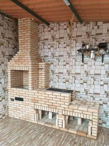 Churrasqueira forno e fogão a lenha de tijolinho aparente - Foto 3
