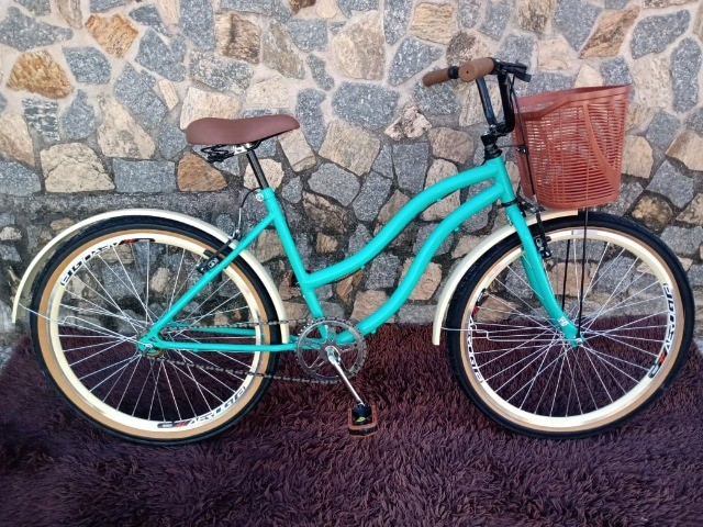 Bicicleta Aro 26 Mod Beach Retro Feminina C/ Cesta Marrom